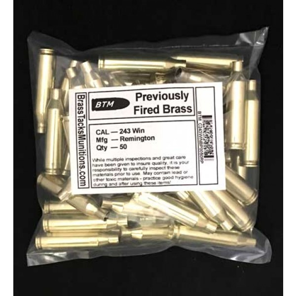 243 win brass rifle cases to reload into ammunition with remington