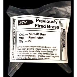 7mm-08 Rem Brass Cases to Reload - 20 ct Remington head stamps