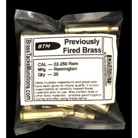 22-250 Rem Brass Cartridges to Reload - 20 ct with Remington Headstamps