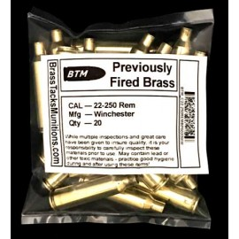 22-250 Rem Brass Cartridges to Reload - 20 ct with Winchester Headstamps