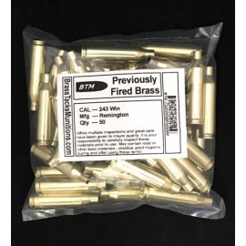 243 Win Brass Cartridges to Reload - 50 ct with Remington Headstamps