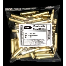 243 Win Brass Cartridges to Reload - 50 ct with Remington Winchester Headstamps