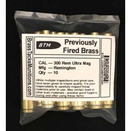 300 Remington Ultra Magnum Brass Cartridge Cases with Remington Head Stamps to Reload - 10 ct