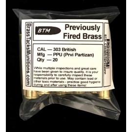 303 British Brass Cartridges to Reload - 20 ct