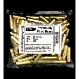 30 Carbine Brass Cases to Reload - 100 ct mixed head stamps