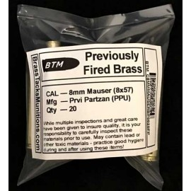 8mm Mauser Brass Cartridges to Reload - 20 ct