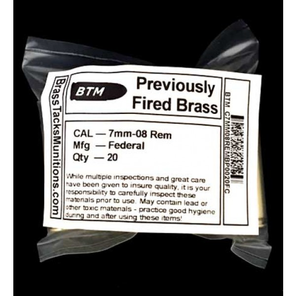 7mm-08 Rem Brass Cases to Reload - 20 ct Federal head stamps