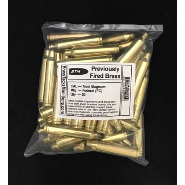 7mm Remington Magnum Brass Cartridge Cases to Reload - 50 ct